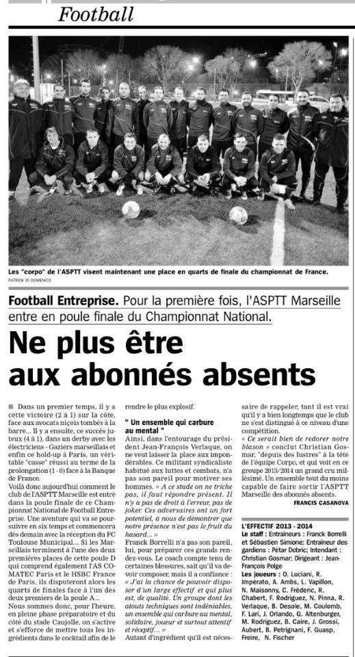 La Marseillaise du 31 janvier 2014